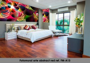 Fotomural arte abstract red